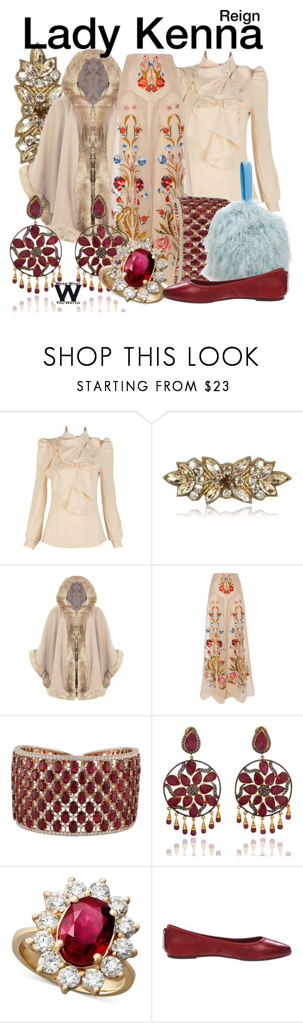 """""""Reign"""" by wearwhatyouwatch ❤ liked on Polyvore featuring Deepa Gurnani, Temperley London, Charlotte Simone, R.H. Macy's & Co., Frye, television and wearwhatyouwatch"""