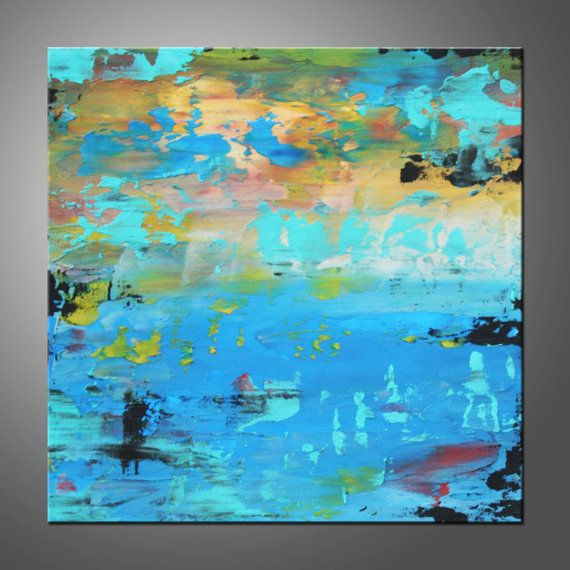 Original Modern Abstract Painting Blue Water by HWinfield on Etsy