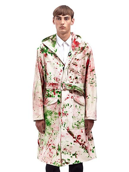 Raf Simons / Sterling Ruby Hand Painted Mens Hooded Canvas Parka Coat