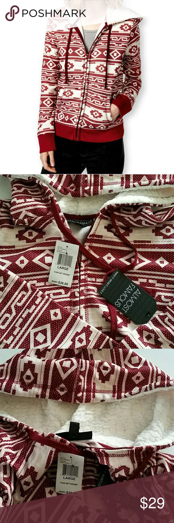 Almost Famous Burgundy Aztec Zip-up Hoodie L New with Tag. Almost famous Aztec print hoodie sweater. Almost Famous Sweaters Cardigans