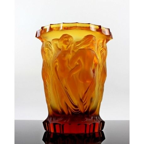 Lalique Style Vase Art Deco Amber Glass Design 1930