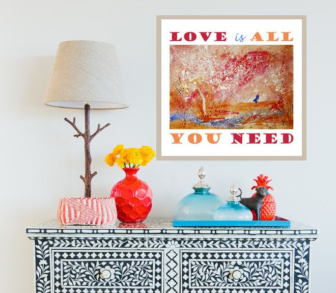 PRINTABLE Art Print, LOVE is all your need, Instant Download, LOVE, Digital File, Quote Poster by RecipesOfHappiness on Etsy