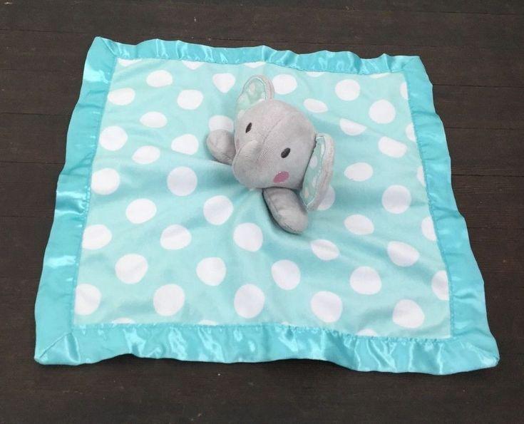 Circo Baby Lovey Plush Gray Elephant Aqua Blue Polka Dot Satin Trim #Circo