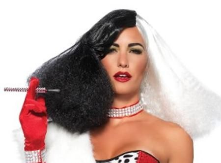Our Black and White Diva Disco Wig is just what you need to complete your Halloween costume as a diva or villain! This Black and White Diva Disco Wig can especially work with a costume resembling a Disney villain, Cruella De Vil. We recommend wearing a wig cap (sold separately) and to avoid using styling tools for best results.