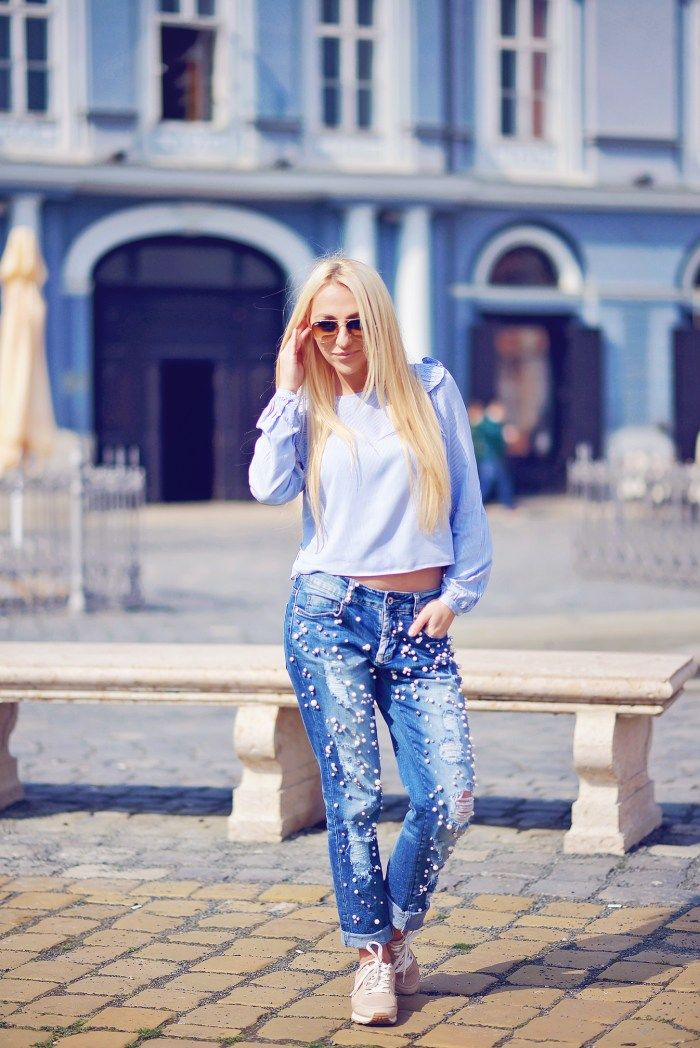 Blugi cu perle #ootd #romanianblogger #blog