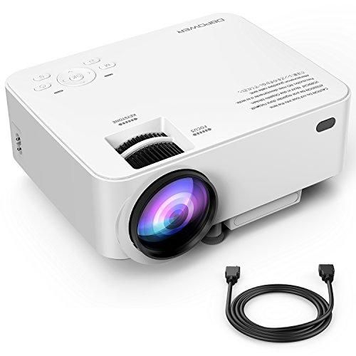 DBPOWER T20 1800 Lumens LCD Mini Projector, Multimedia Home Theater Video Projector Support 1080P HDMI USB SD Card VGA AV Home Cinema TV Laptop Game iPhone Android Smartphone with HDMI Cable, Upgraded #SmartphoneProjector