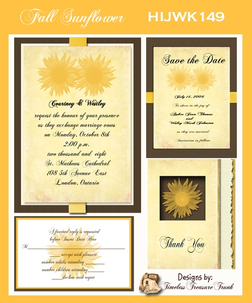 Fall Sunflower Wedding Invitations