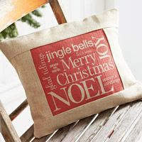 Burlap Christmas Pillow...: Christmas Crafts, Burlap Christmas, Christmas Pillows, Throw Pillows, Christmas Words, Christmas Ideas, Diy Pillows, Christmas Gifts, Diy Christmas