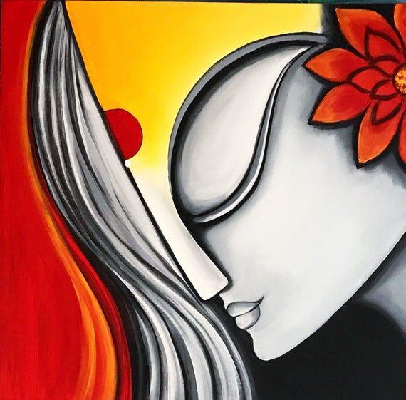 Modern Indian Painting Indian Art Indian Decor Abstract Etsy Indian Art Paintings African Art Paintings Modern Art Paintings
