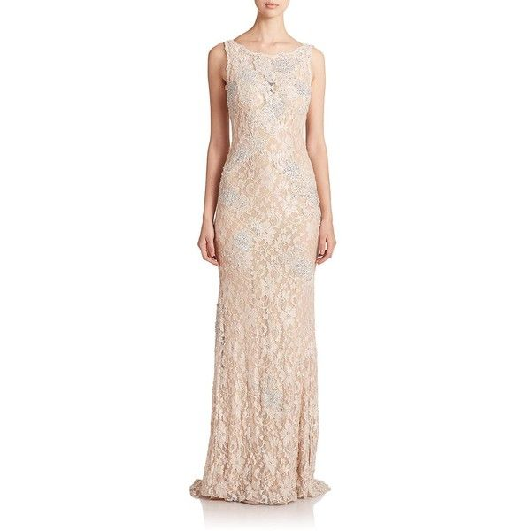 Jovani Sequined Lace Gown ($515) ❤ liked on Polyvore featuring dresses, gowns, apparel & accessories, champagne, sequin dresses, vintage sequin dress, vintage evening gowns, vintage gowns and champagne sequin dress