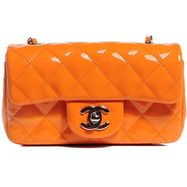 CHANEL Patent Quilted Extra Mini Flap Light Orange ❤ liked on Polyvore featuring bags, handbags, shoulder bags, chanel purses, quilted chain shoulder bag, quilted handbags, mini crossbody purse and crossbody handbags