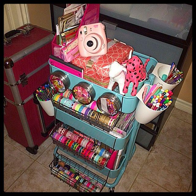 Ikea cart raskog planner instax mini 8 pink nation paper love mint Aqua organizer chic raskog cart