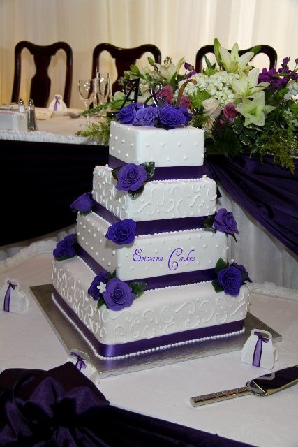 Purple and white wedding Cake 3 (W002) - from erivanacakes.com