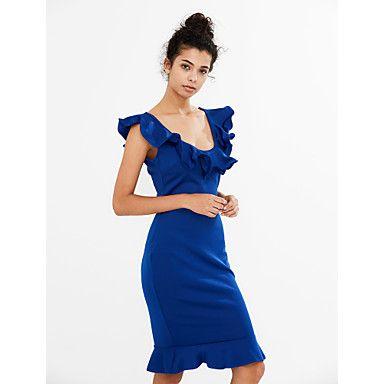 Damen+Bodycon+Kleid-Ausgehen+Lässig/Alltäglich+Sexy+Einfach+Solide+V-Ausschnitt+Knielang+Ärmellos+Blau+Rosa+Gelb+Polyester+SommerMittlere+–+EUR+€+11.00