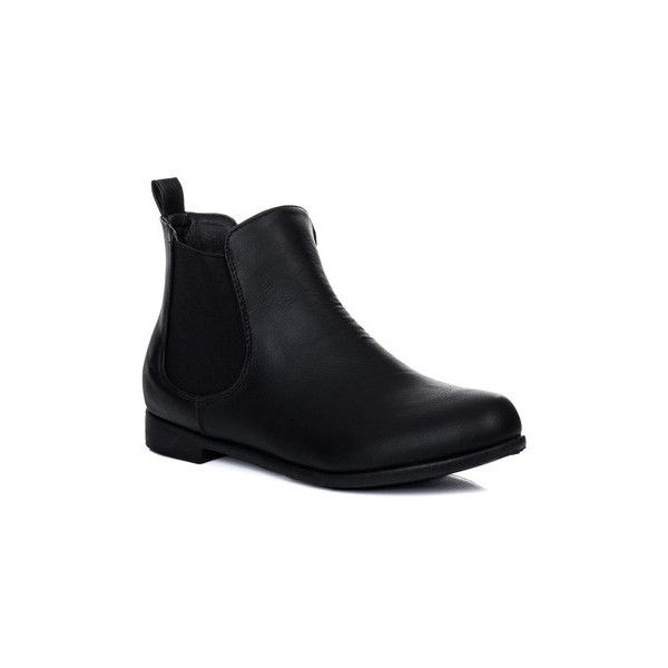 Spylovebuy PARKIN Flat Chelsea Ankle Boots Shoes - Black Leather Style... (81 BRL) ❤ liked on Polyvore featuring shoes, boots, ankle booties, black, low boots, women, black leather boots, faux leather booties, black flat boots and short black boots
