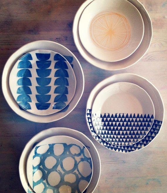 porcelain medium and large dish set screenprinted door mbartstudios, $60.00