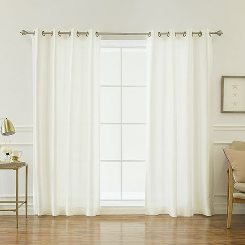 Rose Street 96 x 52 in. Faux Silk Curtains Ivory | Bellacor