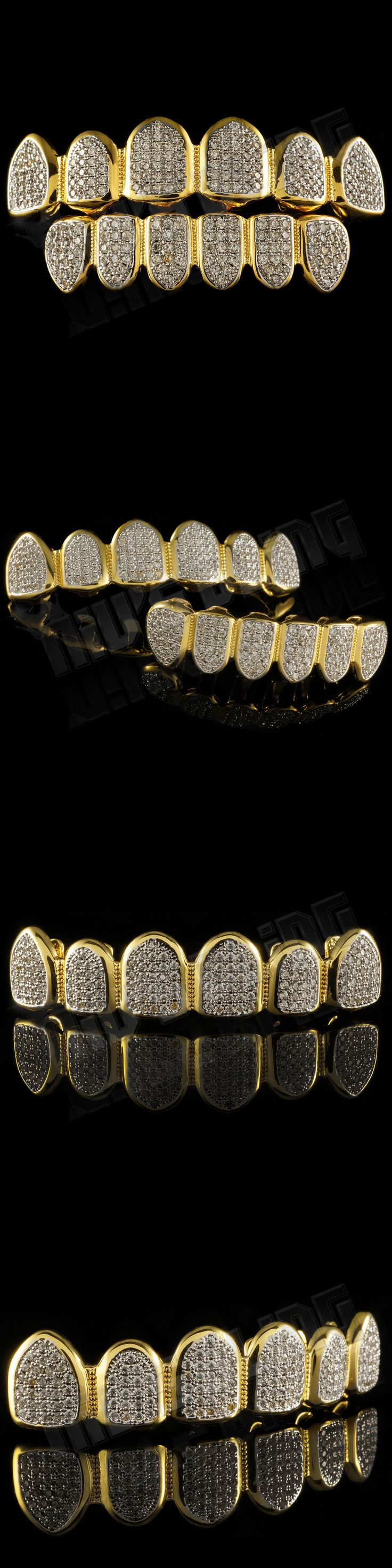 Grillz Dental Grills 152808: 18K Gold Plated Cz Micro Pave Top Bottom Custom Grillz Set Rhodium Teeth Grills BUY IT NOW ONLY: $59.99