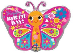 """18"""" Happy Birthday Cute Butterfly-Pkg foil balloon (Pack of 5)"""