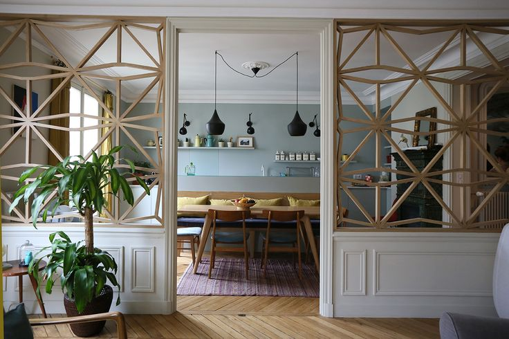 Beautiful room separator thingies. Il y a du claustra dans l'air… | Julie Nabucet Architectures