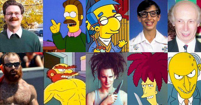 Hay personas tan parecidas a personajes de dibujos animados que pareciera que están inspirados en ellas, en este caso checa estos personajes de los simpsons.