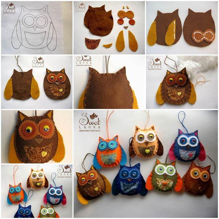 Creative Ideas - DIY Cute Felted Owls | iCreativeIdeas.com Follow Us on Facebook --> https://www.facebook.com/iCreativeIdeas