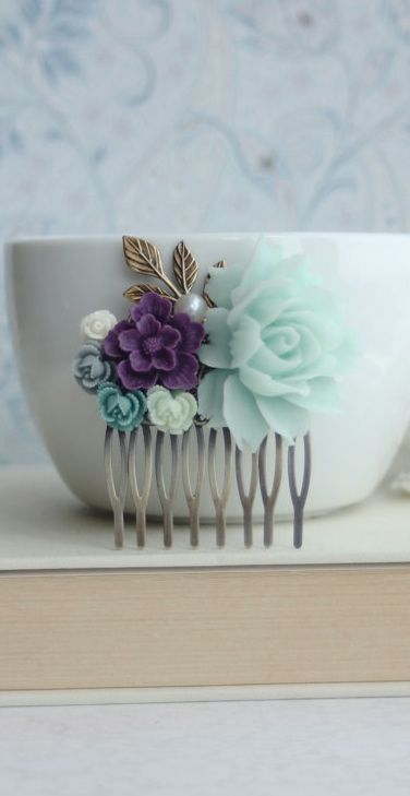 Large Mint Rose, Dark Purple, Dusty Blue, Ivory Amethyst, Light Mint Flowers Hair Comb. Bridesmaid Gifts. Purple Blue Wedding. Mint Wedding By Marolsha.