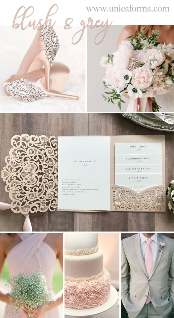 Blush laser cut wedding invitations. Blush and grey wedding. Blush wedding. Blush bridesmaids dresses. Fall wedding. Spring wedding decor. Elegant wedding invitations. Cheap wedding invitations. Timeless wedding invitations. Simple wedding invitations. Laser cut pocket folds. Blush wedding bouquet. Blush wedding shoes. Blush groomsmen. Barn wedding. Outdoor wedding. Wedding invitations by Unica Forma