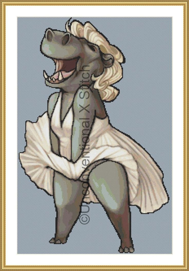 Sexy hippo Marilyn Monroe cross stitch pattern by UnconventionalX on Etsy
