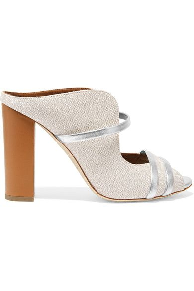 Malone Souliers - Metallic Leather-trimmed Linen Mules - White - IT37.5