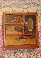 Vintage wooden chest for small doll.  Sold in FURNITURE on website http://barbspencerdolls.com .  Some vintage furniture (and other) may be found in VINTAGE & GIFTS.