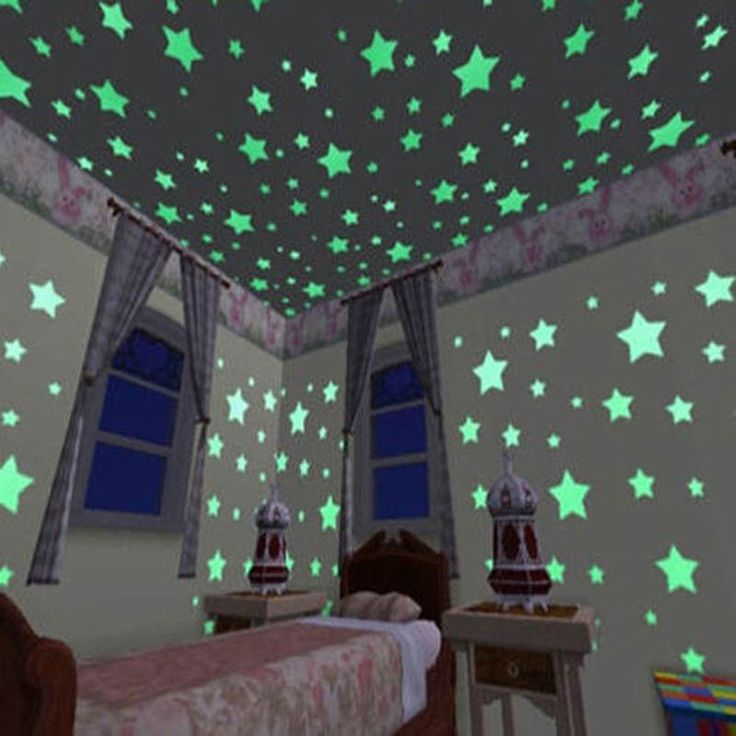 100 pcs/lot Stars Wall Stickers Decal Glow in The Dark Baby Kids DIY Bedroom Home Decor Luminous Fluorescent Wall Sticker DA <3 Click the image to view the details