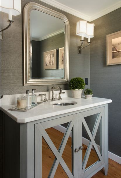 Gray grasscloth walls half bath powder room small - Powder room wallpaper ideas ...