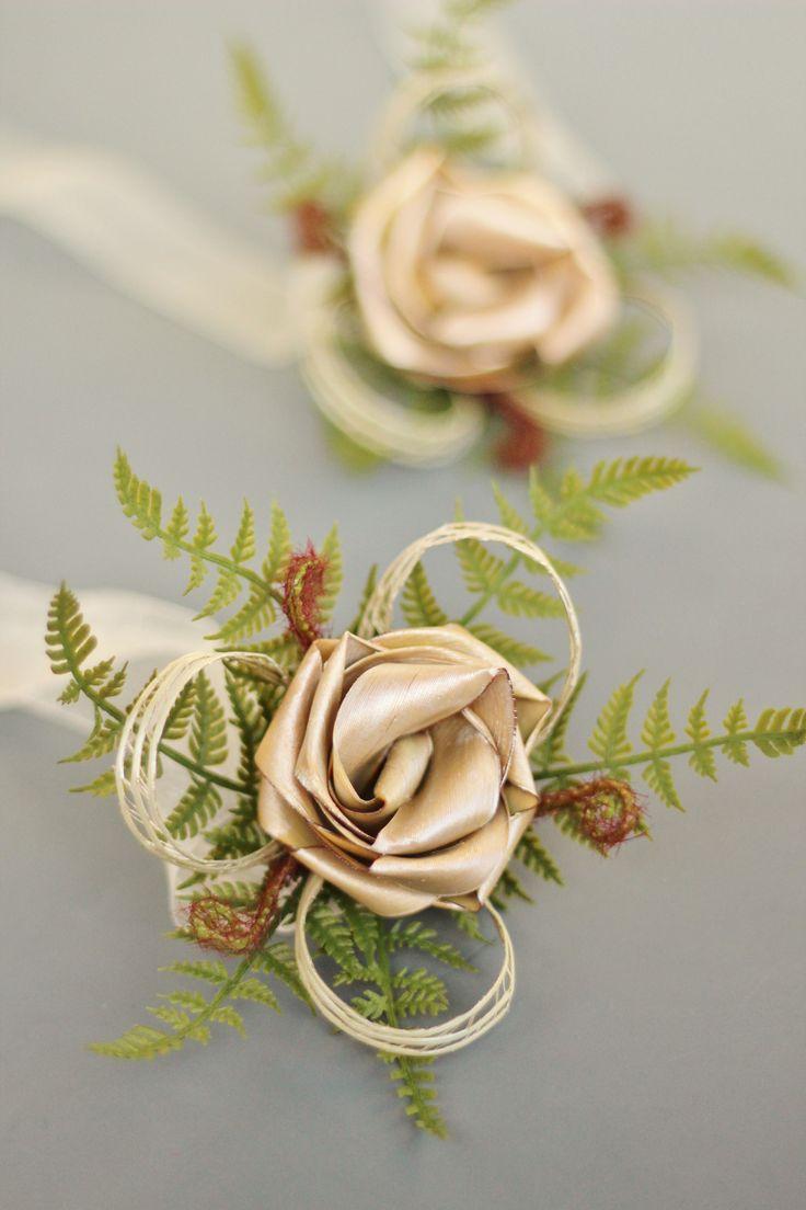 Flax wrist corsage with imitation fern and koru by Flaxation.  www.flaxation.co.nz