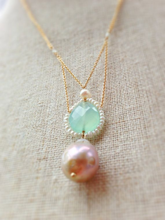 Aqua Blue Chalcedony and pink pearl and freshwater pearl necklace