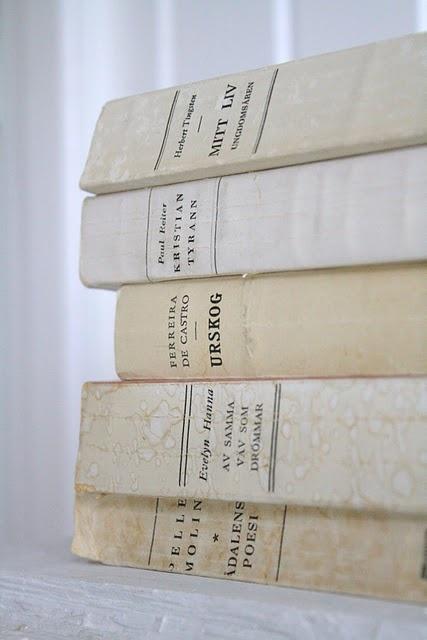 white vintage books