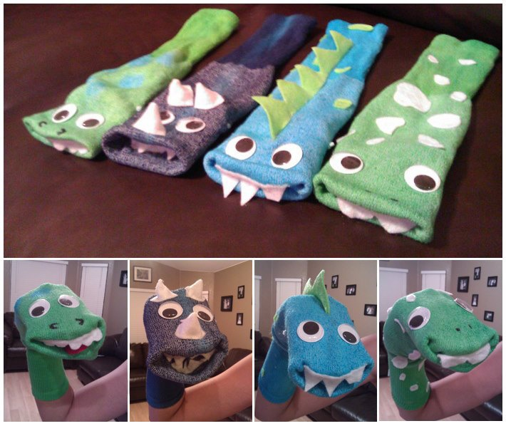 Home-Made Hand-Made Dinosaur Dino Monster Sock Puppets. $9.00, via Etsy.