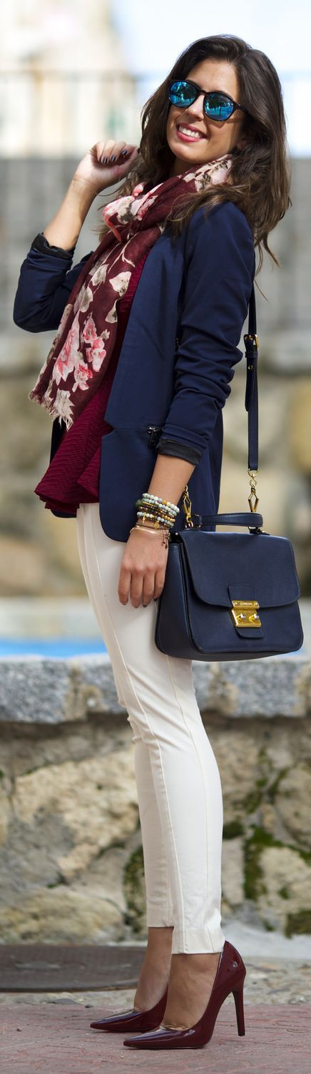 White pants in winter with navy heels