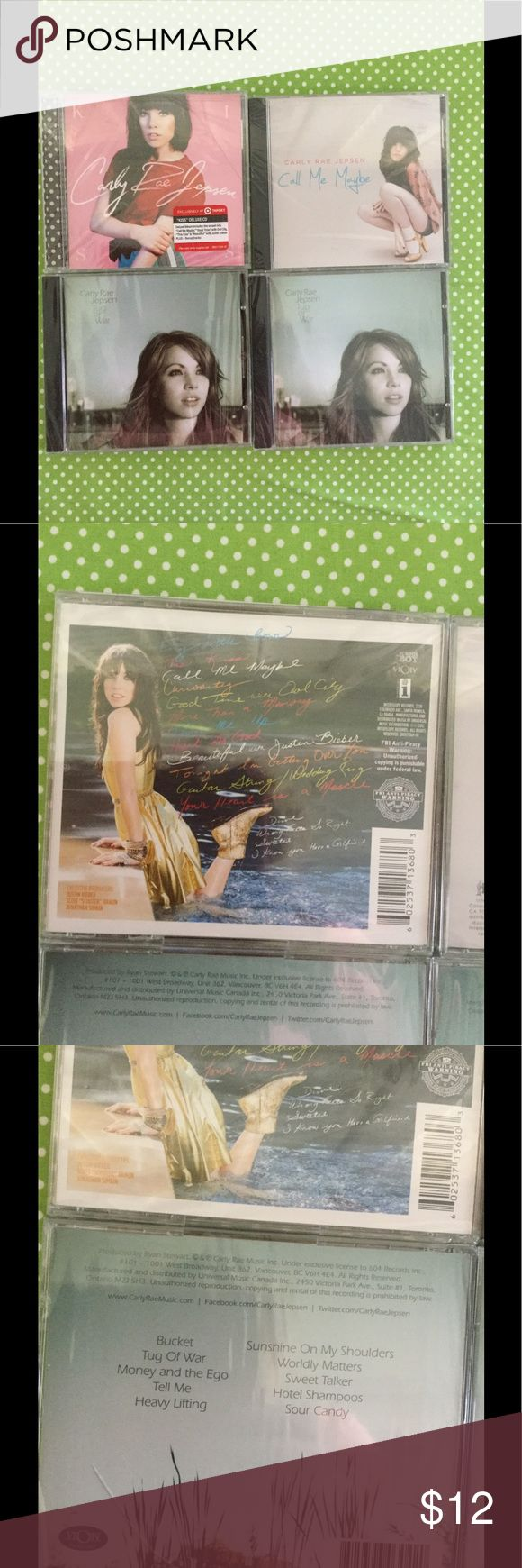 CARLY RAE JEPSEN MUSIC Carly Rae Jepson Music CD's (4): Call Me Maybe: Carly Rae Jepsen: Carly Rae Jepsen Tug of War (2). All 4 for $12.00 Accessories