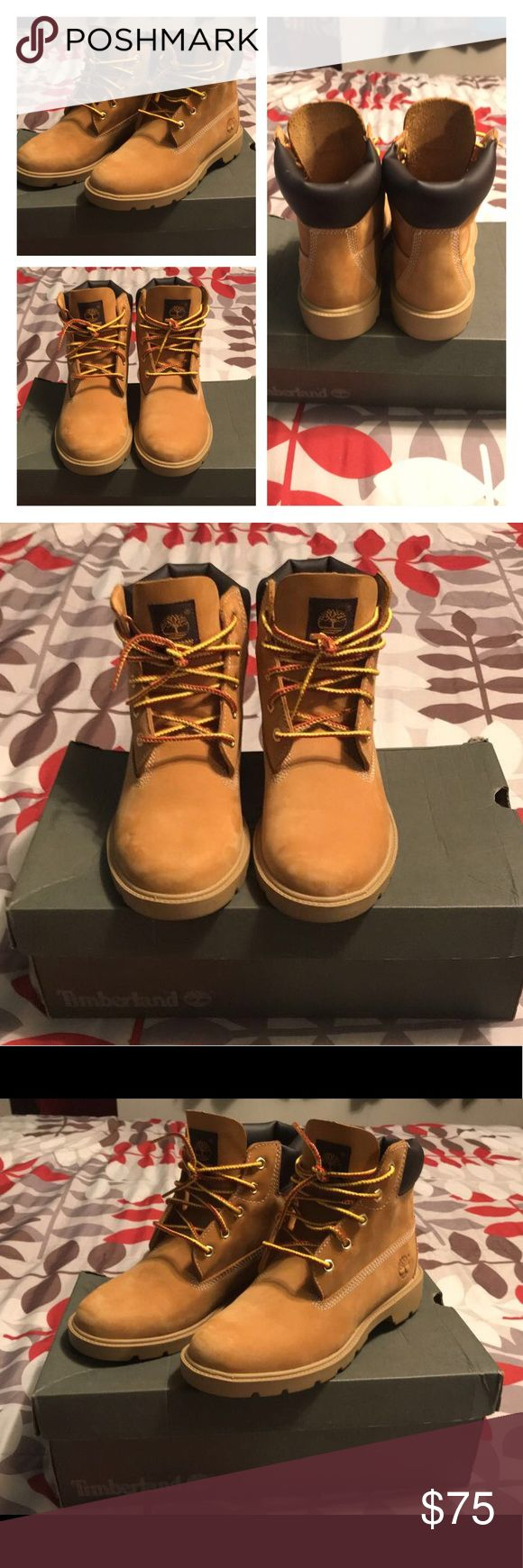 Timberland Boots - Authentic I wore these boots twice (few hours if that). They are too small for me, was planning on giving them to my daughter but they are too small for her as well. Perfect condition. 4.5 in boys but fit a 6.5 in girls Timberland Shoes