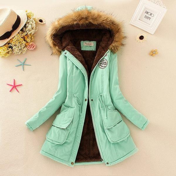 Faux Fur Collar Lady Hoodies Coats Long Down Classical Parka Jackets Plus Size  s-3XL