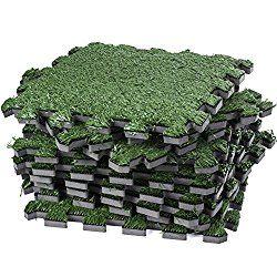 Interlocking Artificial Grass Tile – Artificial Turf Grass Carpet – Fake Grass Floor Mat- Soft Turf Tiles, Non Toxic, Anti-Fatigue Premium Foam Mat (Green)
