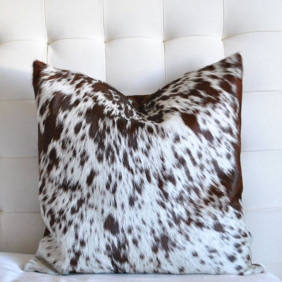 Decorative Cowhide Throw Pillow Cover Brown White Cow hide
