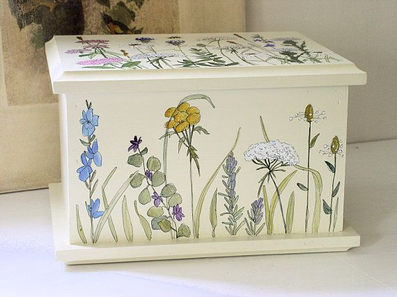 Painted Cottage Furniture Box Woodland Flowers by BetweenTheWeeds,