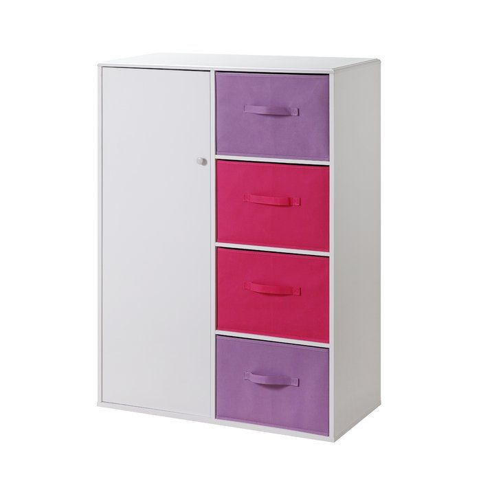 This designer Girl's Chiffarobe has pink and purple drawers that are just right for your child's bedroom! The top of the unit's corners are eased so there are no sharp edges. The colorful ready-to-unfold canvas drawers are accented with handles attached on two sides of the drawers. These drawers are great for holding your games, controllers, clothes, toys or any of your storage needs. The drawers rest gently on the shelf and can be carried with the handles to take with you to any room in ...