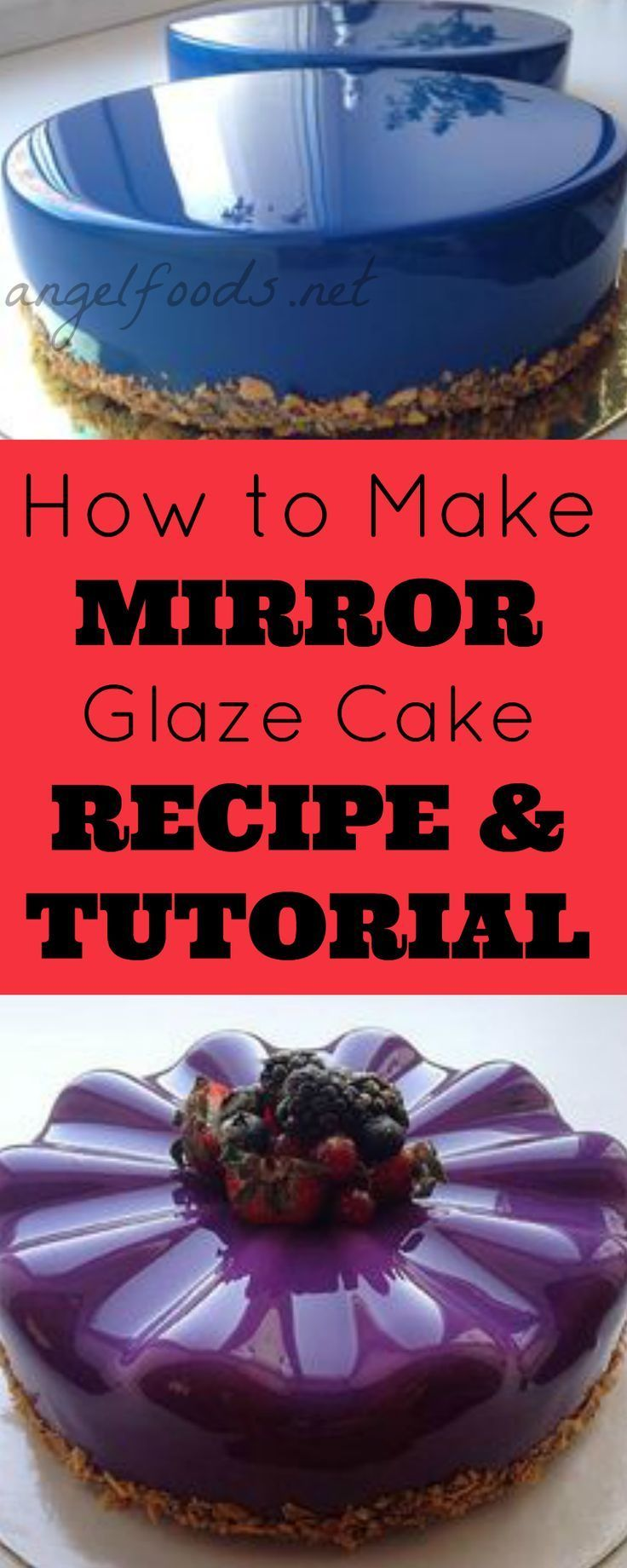How to Make Mirror Glaze (Shiny) Cakes: Recipe & Tutorial   The latest craze to hit the caking world is the out-of-this-world shiny, mirror-like glaze and glazing effect. It is cool stuff!   http://angelfoods.net/how-to-make-mirror-glaze-shiny-cakes-recip