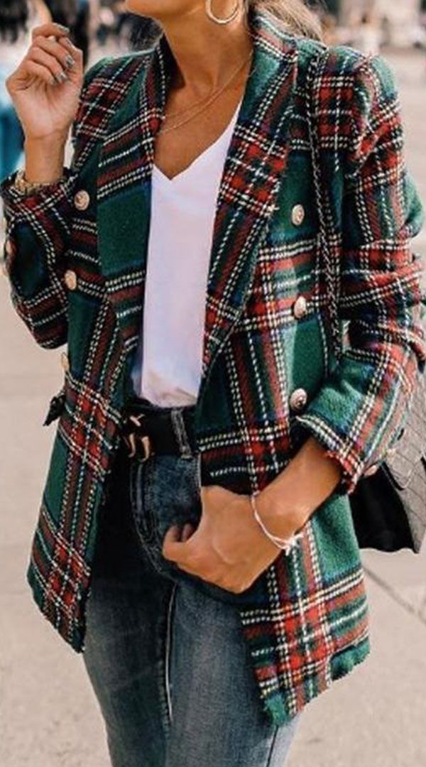 8c6f120fc Double-Breasted Grid Lapel Collar Jacket in 2019