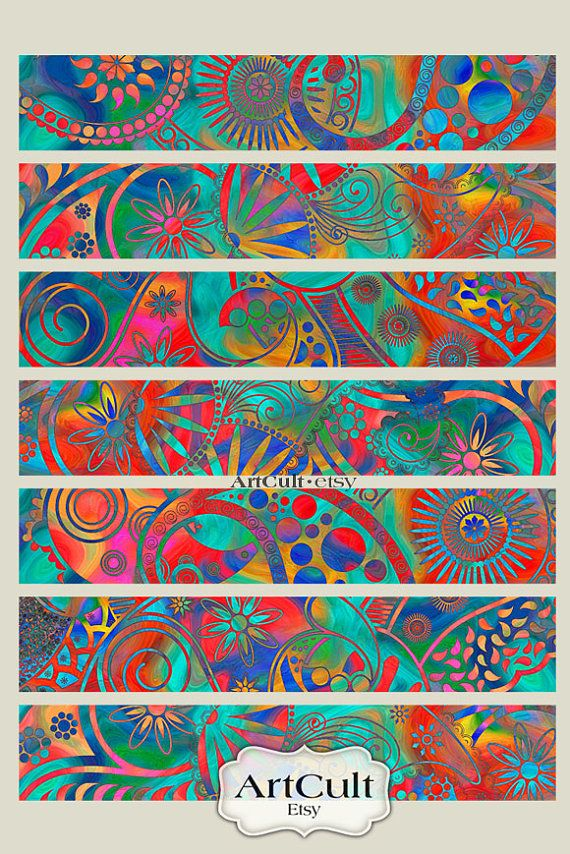 99 best collage images on pinterest paisley pattern pointillism printable 1x6 inch size images art strips no4 for bracelets cuffs bookmarks magnets fandeluxe Gallery