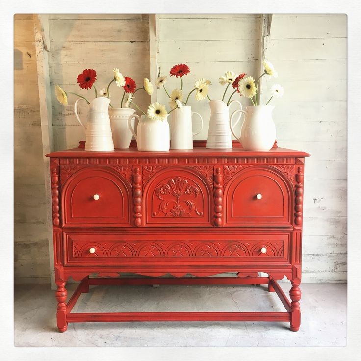 Red buffet by The Modern Cottage Company