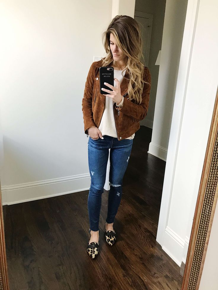 suede moto jacket with cream sweater and ag jeans and leopard shoes